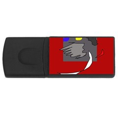Red Abstraction By Moma Usb Flash Drive Rectangular (4 Gb)  by Valentinaart