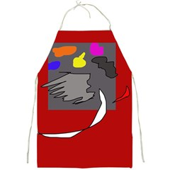 Red Abstraction By Moma Full Print Aprons by Valentinaart