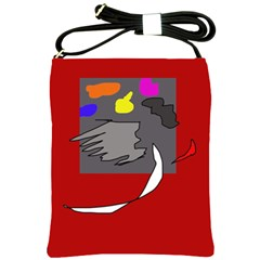 Red Abstraction By Moma Shoulder Sling Bags by Valentinaart