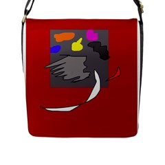 Red Abstraction By Moma Flap Messenger Bag (l)  by Valentinaart