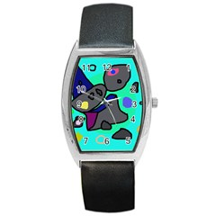 Blue Comic Abstract Barrel Style Metal Watch by Valentinaart