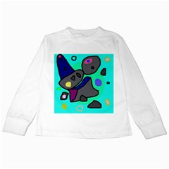 Blue comic abstract Kids Long Sleeve T-Shirts by Valentinaart