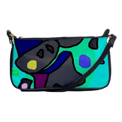 Blue Comic Abstract Shoulder Clutch Bags by Valentinaart