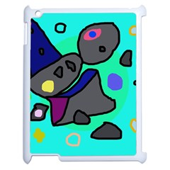 Blue Comic Abstract Apple Ipad 2 Case (white) by Valentinaart