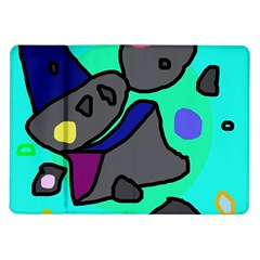 Blue Comic Abstract Samsung Galaxy Tab 10 1  P7500 Flip Case by Valentinaart