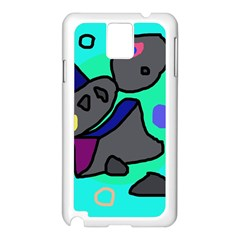 Blue Comic Abstract Samsung Galaxy Note 3 N9005 Case (white) by Valentinaart