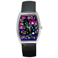 Abstract Colorful Chaos Barrel Style Metal Watch by Valentinaart