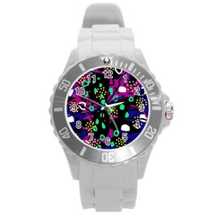 Abstract Colorful Chaos Round Plastic Sport Watch (l) by Valentinaart
