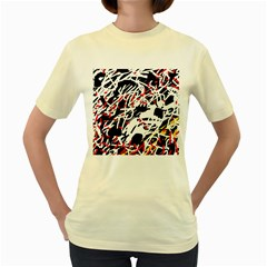 Colorful Chaos By Moma Women s Yellow T Shirt by Valentinaart