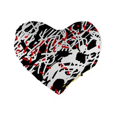 Colorful Chaos By Moma Standard 16  Premium Flano Heart Shape Cushions by Valentinaart