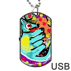 Abstract animal Dog Tag USB Flash (Two Sides)  by Valentinaart