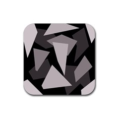 Simple Gray Abstraction Rubber Square Coaster (4 Pack)  by Valentinaart