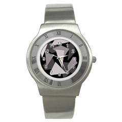 Simple Gray Abstraction Stainless Steel Watch by Valentinaart