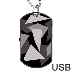 Simple Gray Abstraction Dog Tag Usb Flash (two Sides)  by Valentinaart