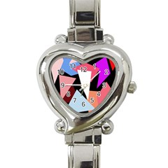 Colorful Geometrical Design Heart Italian Charm Watch by Valentinaart