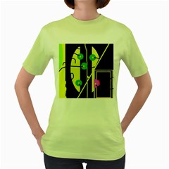 Crazy Abstraction By Moma Women s Green T Shirt by Valentinaart