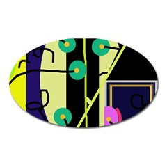 Crazy Abstraction By Moma Oval Magnet by Valentinaart