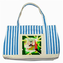 Green Abstract Artwork Striped Blue Tote Bag by Valentinaart