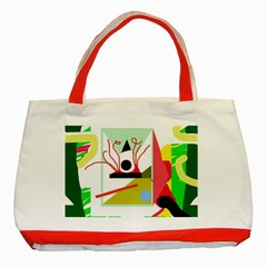 Green Abstract Artwork Classic Tote Bag (red) by Valentinaart