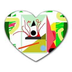 Green Abstract Artwork Heart Mousepads by Valentinaart