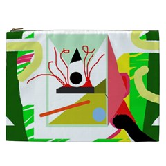 Green Abstract Artwork Cosmetic Bag (xxl)  by Valentinaart