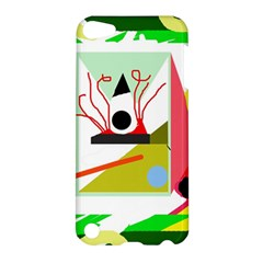 Green Abstract Artwork Apple Ipod Touch 5 Hardshell Case by Valentinaart