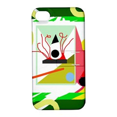 Green Abstract Artwork Apple Iphone 4/4s Hardshell Case With Stand by Valentinaart