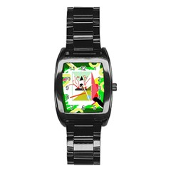 Green Abstract Artwork Stainless Steel Barrel Watch by Valentinaart