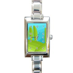 Green And Blue Landscape Rectangle Italian Charm Watch by Valentinaart