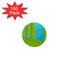 Green And Blue Landscape 1  Mini Buttons (100 Pack)  by Valentinaart