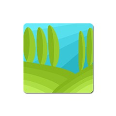 Green And Blue Landscape Square Magnet by Valentinaart