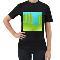 Green And Blue Landscape Women s T Shirt (black) (two Sided) by Valentinaart