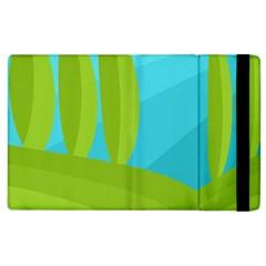 Green And Blue Landscape Apple Ipad 2 Flip Case by Valentinaart