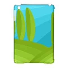Green And Blue Landscape Apple Ipad Mini Hardshell Case (compatible With Smart Cover) by Valentinaart