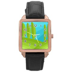 Green And Blue Landscape Rose Gold Leather Watch  by Valentinaart