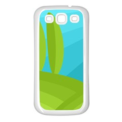 Green And Blue Landscape Samsung Galaxy S3 Back Case (white) by Valentinaart
