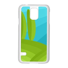 Green And Blue Landscape Samsung Galaxy S5 Case (white) by Valentinaart