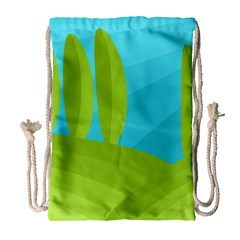 Green And Blue Landscape Drawstring Bag (large) by Valentinaart