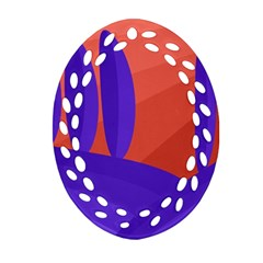 Purple And Orange Landscape Ornament (oval Filigree)  by Valentinaart