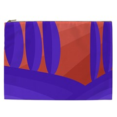 Purple And Orange Landscape Cosmetic Bag (xxl)  by Valentinaart