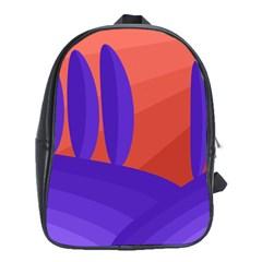 Purple And Orange Landscape School Bags (xl)  by Valentinaart