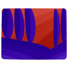 Purple And Orange Landscape Jigsaw Puzzle Photo Stand (rectangular) by Valentinaart