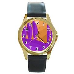 Orange And Purple Landscape Round Gold Metal Watch by Valentinaart