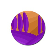 Orange And Purple Landscape Rubber Round Coaster (4 Pack)  by Valentinaart