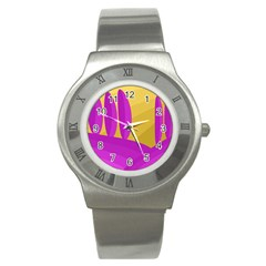 Yellow And Magenta Landscape Stainless Steel Watch by Valentinaart