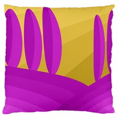 Yellow And Magenta Landscape Large Cushion Case (two Sides) by Valentinaart