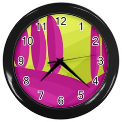 Yellow And Pink Landscape Wall Clocks (black) by Valentinaart