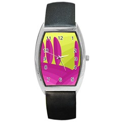 Yellow And Pink Landscape Barrel Style Metal Watch by Valentinaart