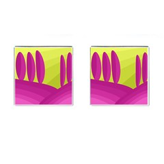Yellow And Pink Landscape Cufflinks (square) by Valentinaart