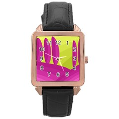 Yellow And Pink Landscape Rose Gold Leather Watch  by Valentinaart